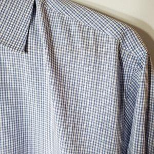YSL Micro Check Blue and White Dress Shirt